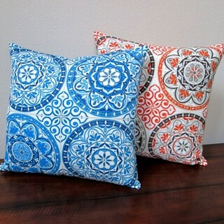 Artisan Pillows 18-inch Indoor/Outdoor Spanish Moroccan Color Wheel Circles in Indigo Blue or Orange - Throw Pillow (Set of 2) (2 options available)