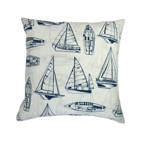Artisan Pillows 18-inch Indoor/Outdoor Beach House Yacht Club Sailboats in Navy - Throw Pillow (Set of 2)