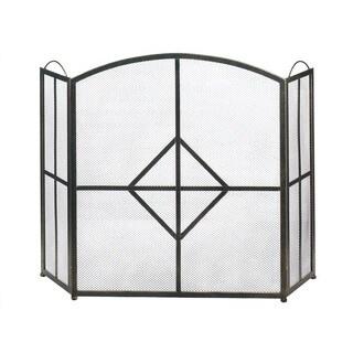 Lotus Modern Designed 3-Panel Fireplace Screen