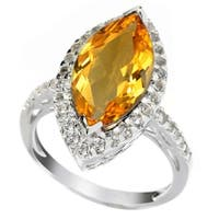 Sterling Silver 3ct Citrine and White Topaz Marquise Halo Ring - Yellow