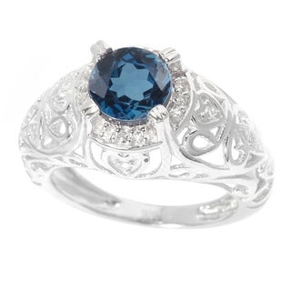 Sterling Silver 1.72ct London Blue Topaz and White Topaz Halo Filigree Ring