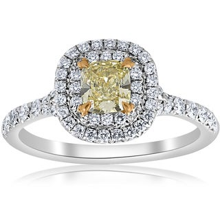 Platinum & 18K Yellow Gold Tiffany 1 ct TDW Fancy Canary Yellow Cushion Diamond Double Halo Engagement Ring Sz 5 (F, VS)