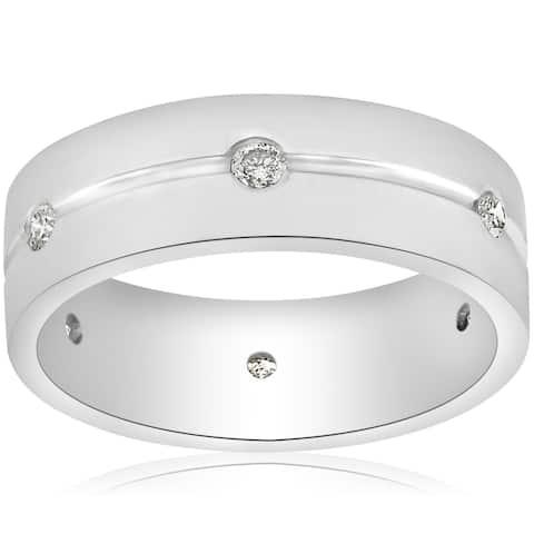 14K White Gold 1/2ct Diamond Mens 8mm Flat High Polished Comfort Fit Wedding Band (G-H,SI2-I1)