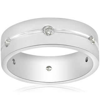 14K White Gold 1/2ct Diamond Mens 8mm Flat High Polished Comfort Fit Wedding Band (G-H,SI2-I1)