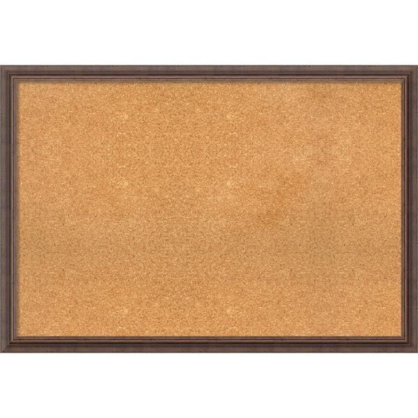 Framed Cork Board, Distressed Rustic Brown