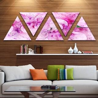 Designart 'Pink White Fractal Glass Texture' Contemporary Triangle Canvas Art Print - 5 Panels