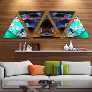 Designart 'Blue Capsule in Plasma' Contemporary Triangle Canvas Art Print - 5 Panels