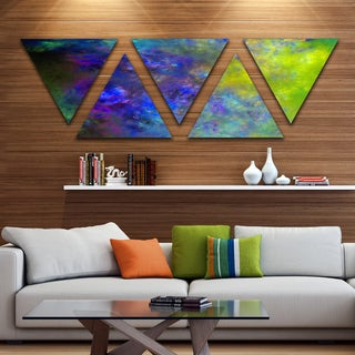 Designart 'Blue Green Starry Fractal Sky' Contemporary Triangle Canvas Art Print - 5 Panels