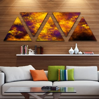 Designart 'Cloudy Orange Starry Fractal Sky' Contemporary Triangle Canvas Art Print - 5 Panels