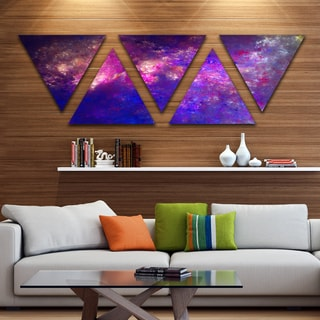 Designart 'Clear Purple Starry Fractal Sky' Contemporary Triangle Canvas Art Print - 5 Panels