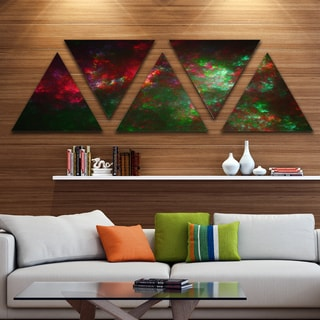 Designart 'Multi Color Starry Fractal Sky' Contemporary Triangle Canvas Art Print - 5 Panels