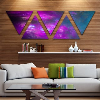 Designart 'Purple Blue Starry Fractal Sky' Contemporary Triangle Canvas Art Print - 5 Panels