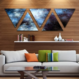 Designart 'Blue White Starry Fractal Sky' Contemporary Art on Triangle Canvas - 5 Panels