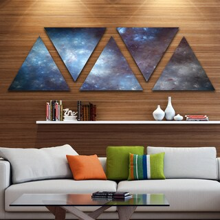 Designart 'Blue Grey Starry Fractal Sky' Contemporary Art on Triangle Canvas - 5 Panels