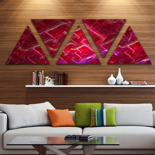 Designart 'Red Fractal Electric Lightning' Contemporary Art on Triangle Canvas - 5 Panels