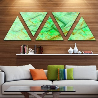 Designart 'Light Green Electric Lightning' Contemporary Art on Triangle Canvas - 5 Panels