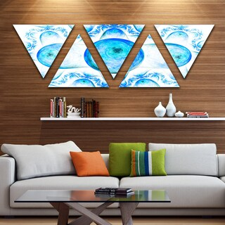 Designart 'Blue Exotic Fractal Pattern' Contemporary Art on Triangle Canvas - 5 Panels