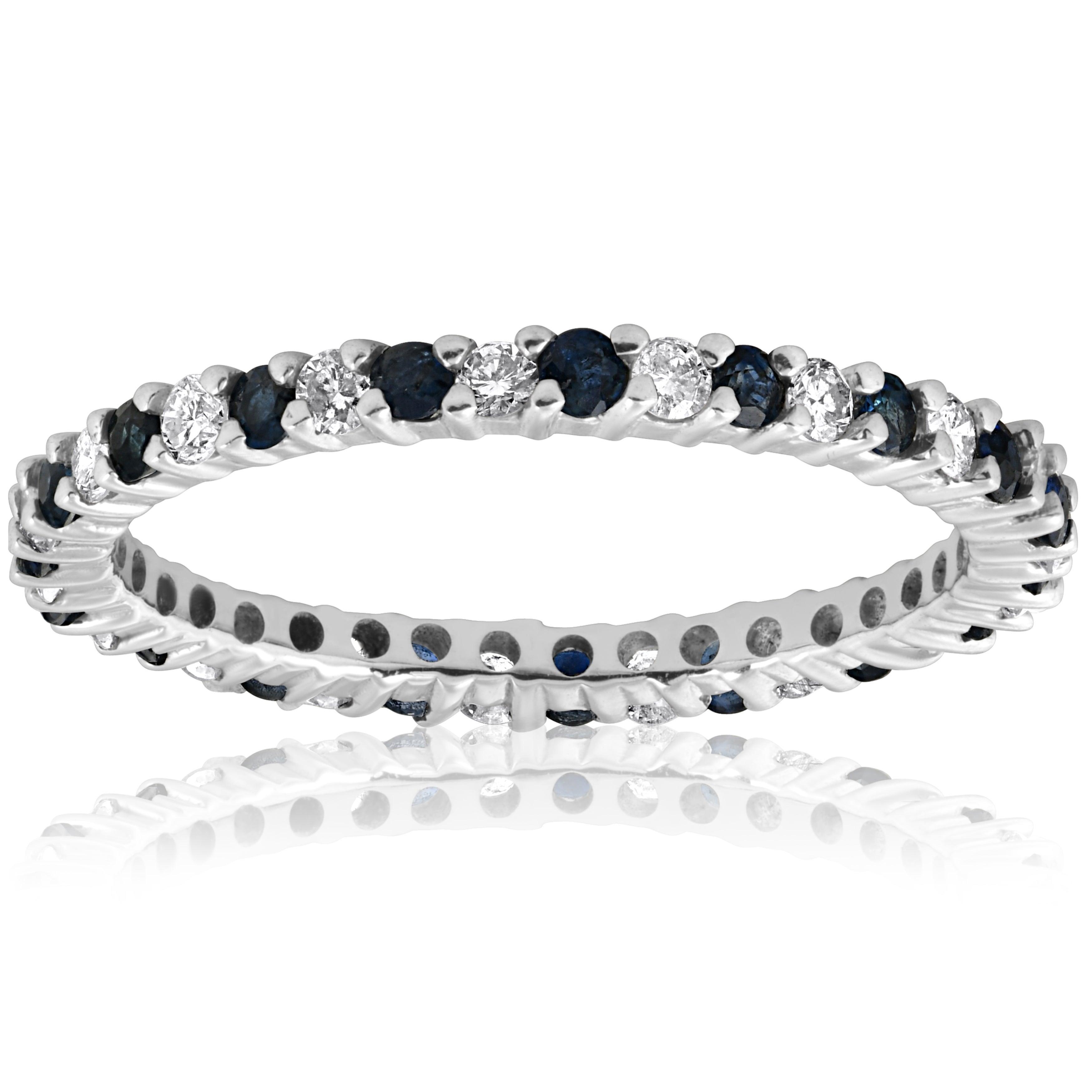2Ct Round Blue Sapphire Full Eternity Wedding Band Ring 14K White Gold Finish