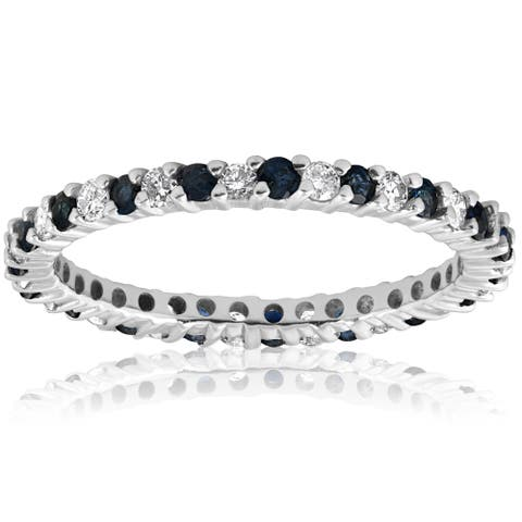 14k White Gold 1/2ct Blue Sapphire Diamond Wedding Band Stackable Eternity Ring (I-J,I2-I3)
