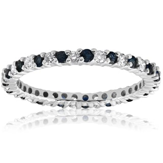 14k White Gold 1/2ct Blue Sapphire Diamond Wedding Band Stackable Eternity Ring  (I-J,I2-I3)