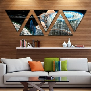 Designart 'Blue Fractal Infinite World' Contemporary Art on Triangle Canvas - 5 Panels