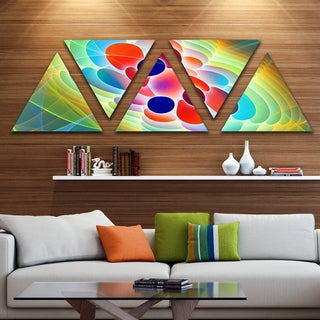 Designart 'Red Blue Fractal Virus Design' Contemporary Art on Triangle Canvas - 5 Panels