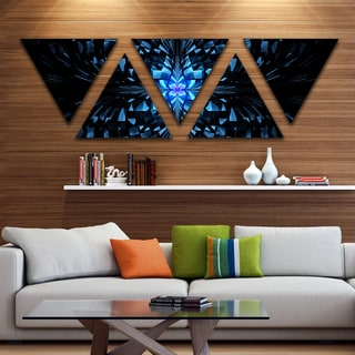 Designart 'Blue Butterfly Pattern on Black' Contemporary Art on Triangle Canvas - 5 Panels