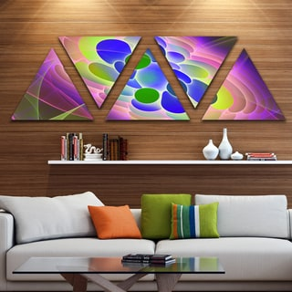 Designart 'Blue Green Fractal Virus Design' Contemporary Art on Triangle Canvas - 5 Panels