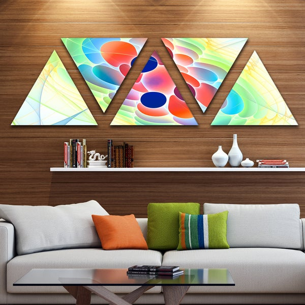 Designart 'Fractal Virus under Microscope' Contemporary Wall Art Triangle Canvas - 5 Panels