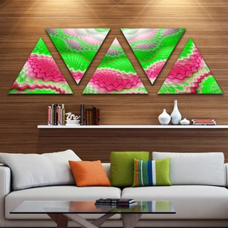 Designart 'Snake Skin Exotic Flower' Contemporary Wall Art Triangle Canvas - 5 Panels