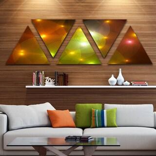 Designart 'Golden Fractal Lights in Fog' Contemporary Wall Art Triangle Canvas - 5 Panels