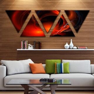 Designart 'Red Galactic Nebula on Black' Contemporary Wall Art Triangle Canvas - 5 Panels