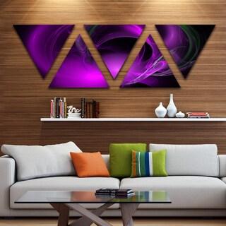 Designart 'Purple Fractal Galactic Nebula' Contemporary Wall Art Triangle Canvas - 5 Panels