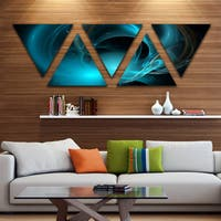 Designart 'Blue Fractal Galactic Nebula' Contemporary Wall Art Triangle Canvas - 5 Panels