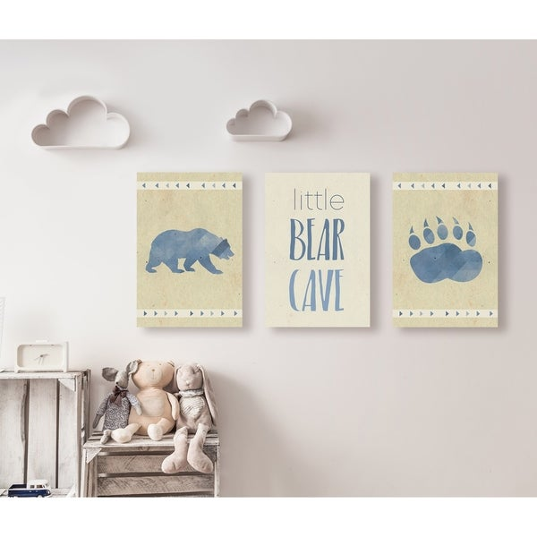 Little Bear Cave Blue Illustration 3pc Wall Plaque Art Set - 10 x 15