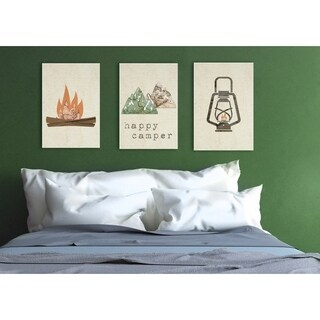 Happy Camper Mountains and Lantern 3pc Wall Plaque Art Set