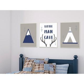 Little Man Cave Mountains and Camping 3pc Wall Plaque Art Set