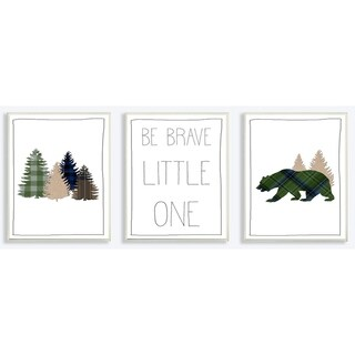Be Brave Little One Plaid Forest Bear 3pc Wall Plaque Art Set