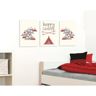Happy Camper Mountains and Arrows 3pc Wall Plaque Art Set