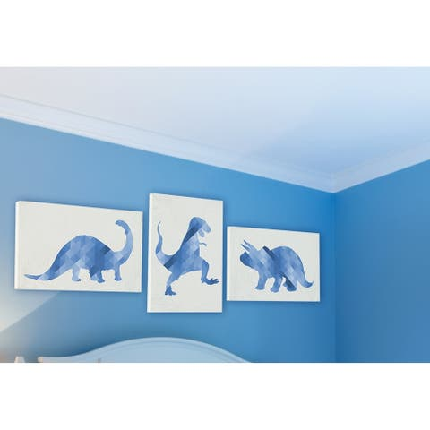 Blue Geometric Ombre Dinosaurs 3pc Wall Plaque Art Set - 10 x 15
