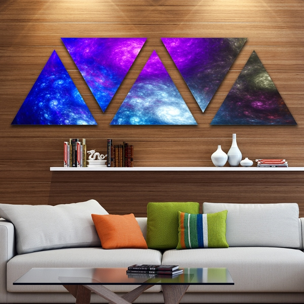 Designart 'Colorful Fractal Rotating Galaxies' Contemporary Wall Art Triangle Canvas - 5 Panels