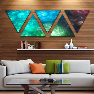 Designart 'Colorful Rotating Fractal Galaxies' Contemporary Wall Art Triangle Canvas - 5 Panels