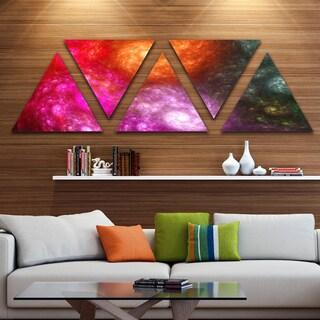 Designart 'Multi Color Rotating Galaxies' Contemporary Wall Art Triangle Canvas - 5 Panels