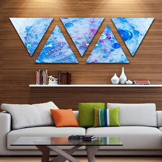 Designart 'Blue Fractal Planet of Bubbles' Contemporary Wall Art Triangle Canvas - 5 Panels