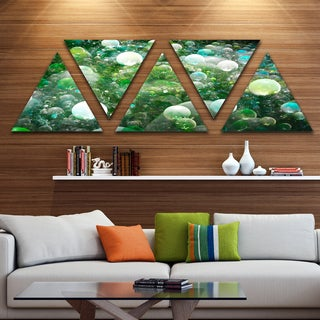 Designart 'Green Fractal Molecule Pattern' Contemporary Wall Art Triangle Canvas - 5 Panels