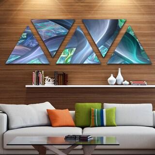 Designart 'Blue Fractal Exotic Plant Stems' Contemporary Triangle Canvas Art Print - 5 Panels