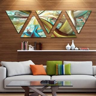 Designart 'Golden Fractal Exotic Plant Stems' Contemporary Triangle Canvas Art Print - 5 Panels