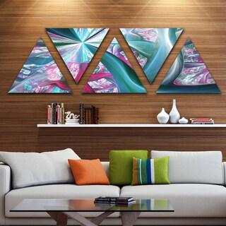Designart 'Blue Pink Fractal Plant Stems' Contemporary Triangle Canvas Art Print - 5 Panels