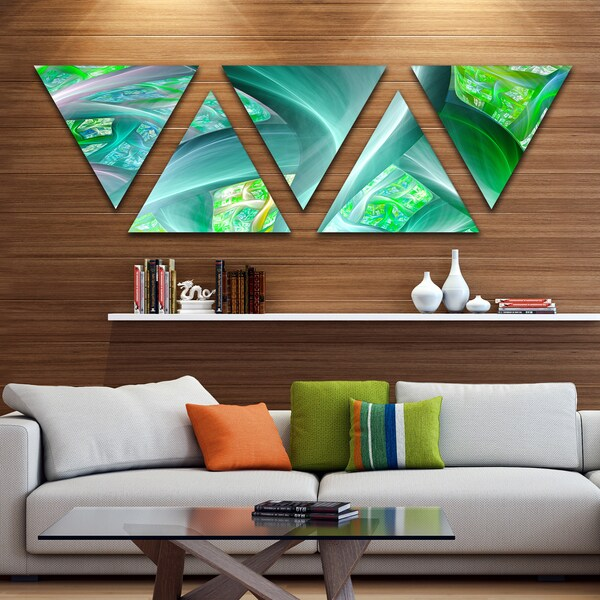 Designart 'Green Fractal Exotic Plant Stems' Contemporary Wall Art Triangle Canvas - 5 Panels