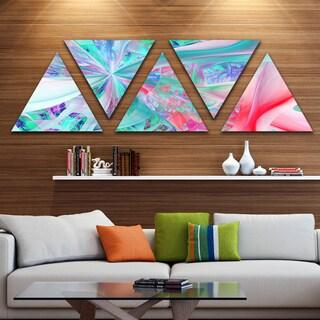 Designart 'Multi Color Fractal Exotic Plant Stems' Contemporary Triangle Canvas Art Print - 5 Panels